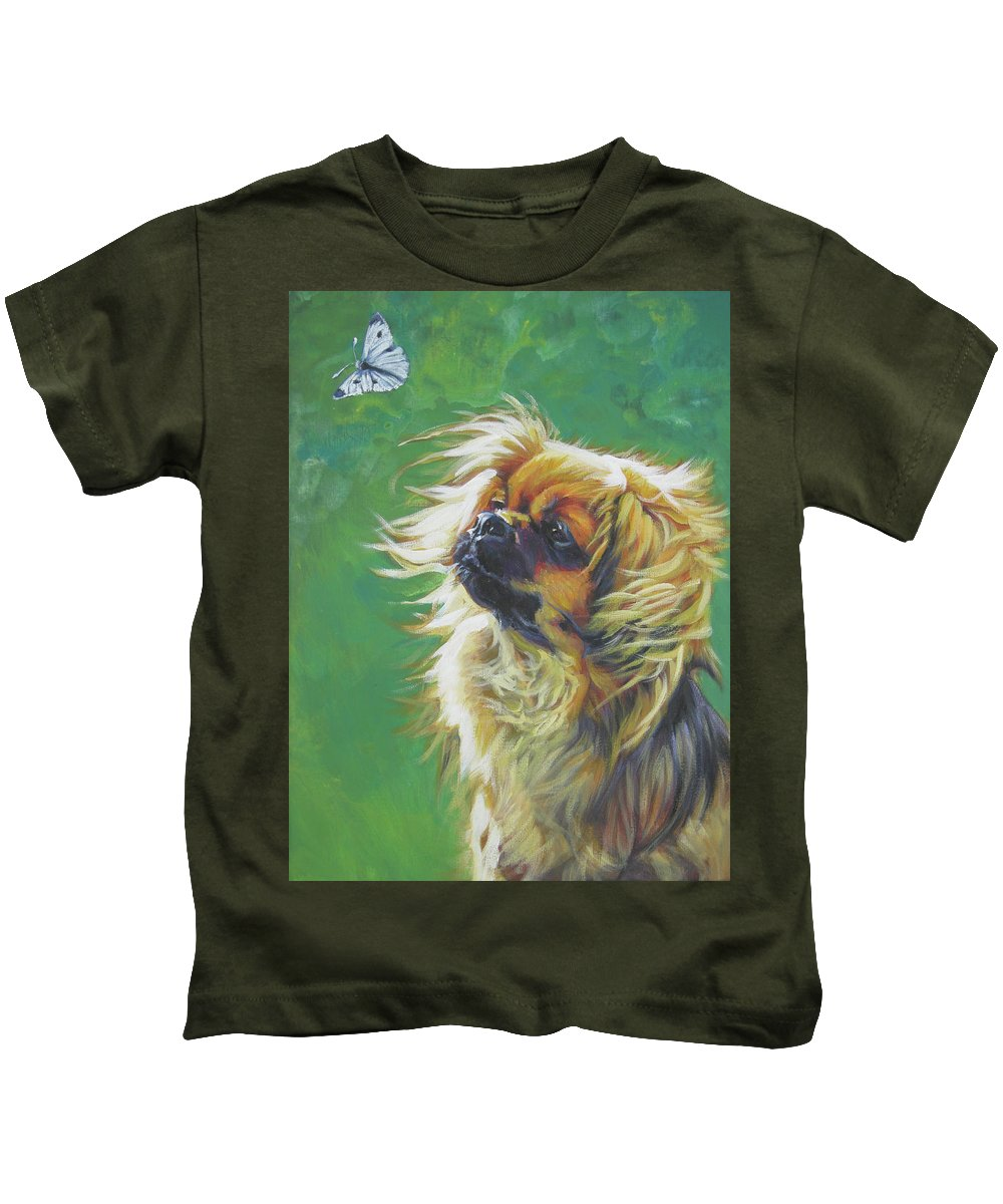 Tibetan Spaniel Kids T-Shirt featuring the painting Tibetan Spaniel And Cabbage White Butterfly by Lee Ann Shepard