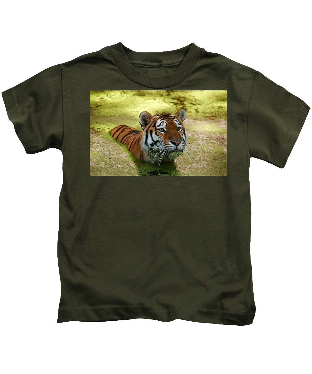 Tiger Kids T-Shirt featuring the digital art Tiger by Dorothy Binder