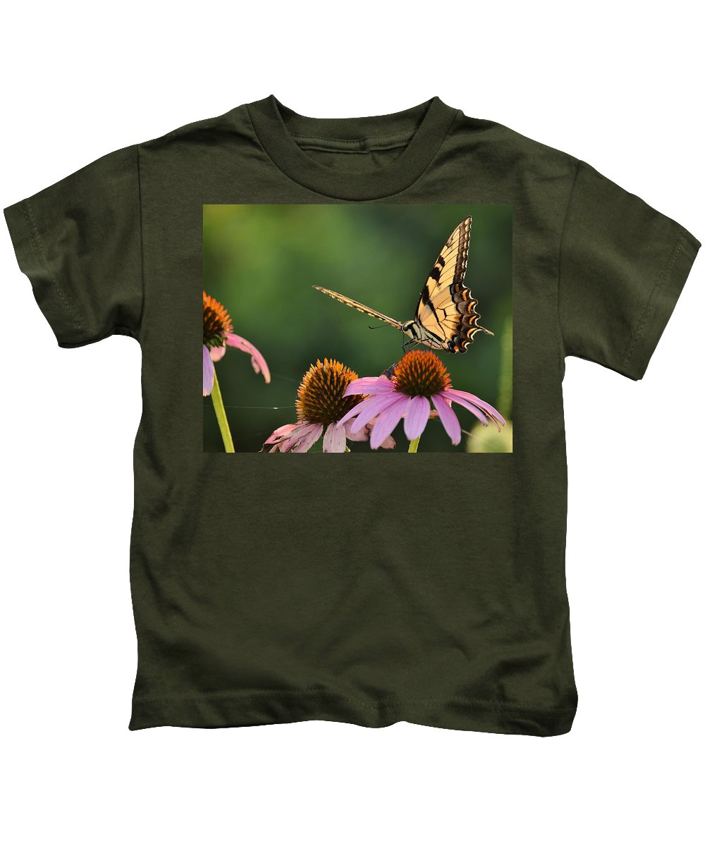 Tiger Swallowtail Kids T-Shirt featuring the photograph Tiger Swallowtail by JD Grimes