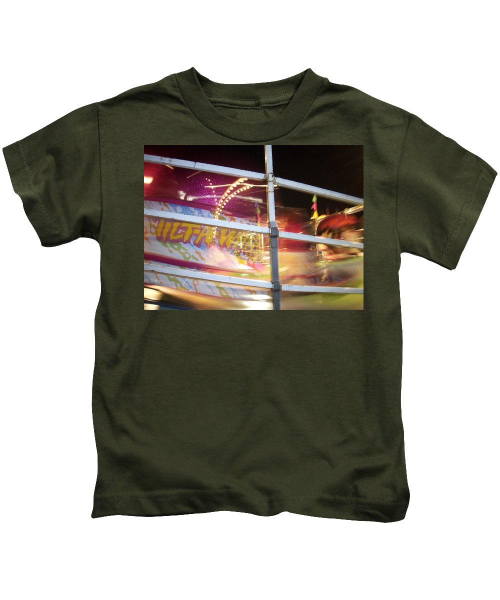 State Fair Kids T-Shirt featuring the photograph Tilt-a-whirl 1 by Anita Burgermeister