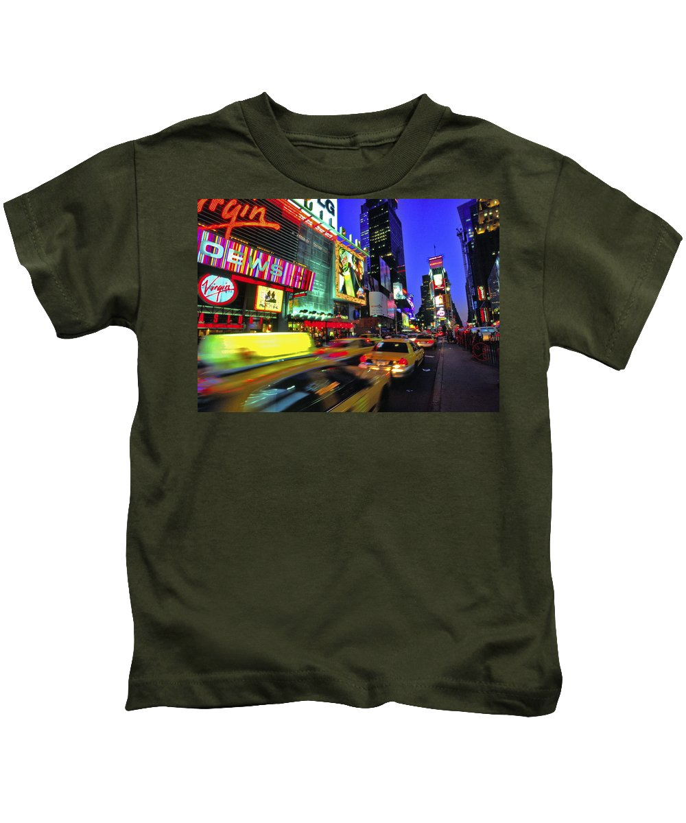 Usa Kids T-Shirt featuring the photograph Times Square New York City by Gary Corbett