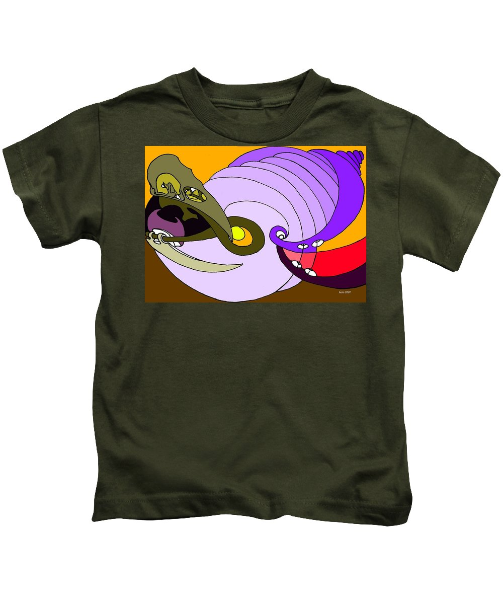 Timespiral Kids T-Shirt featuring the mixed media Timespiral by Helmut Rottler