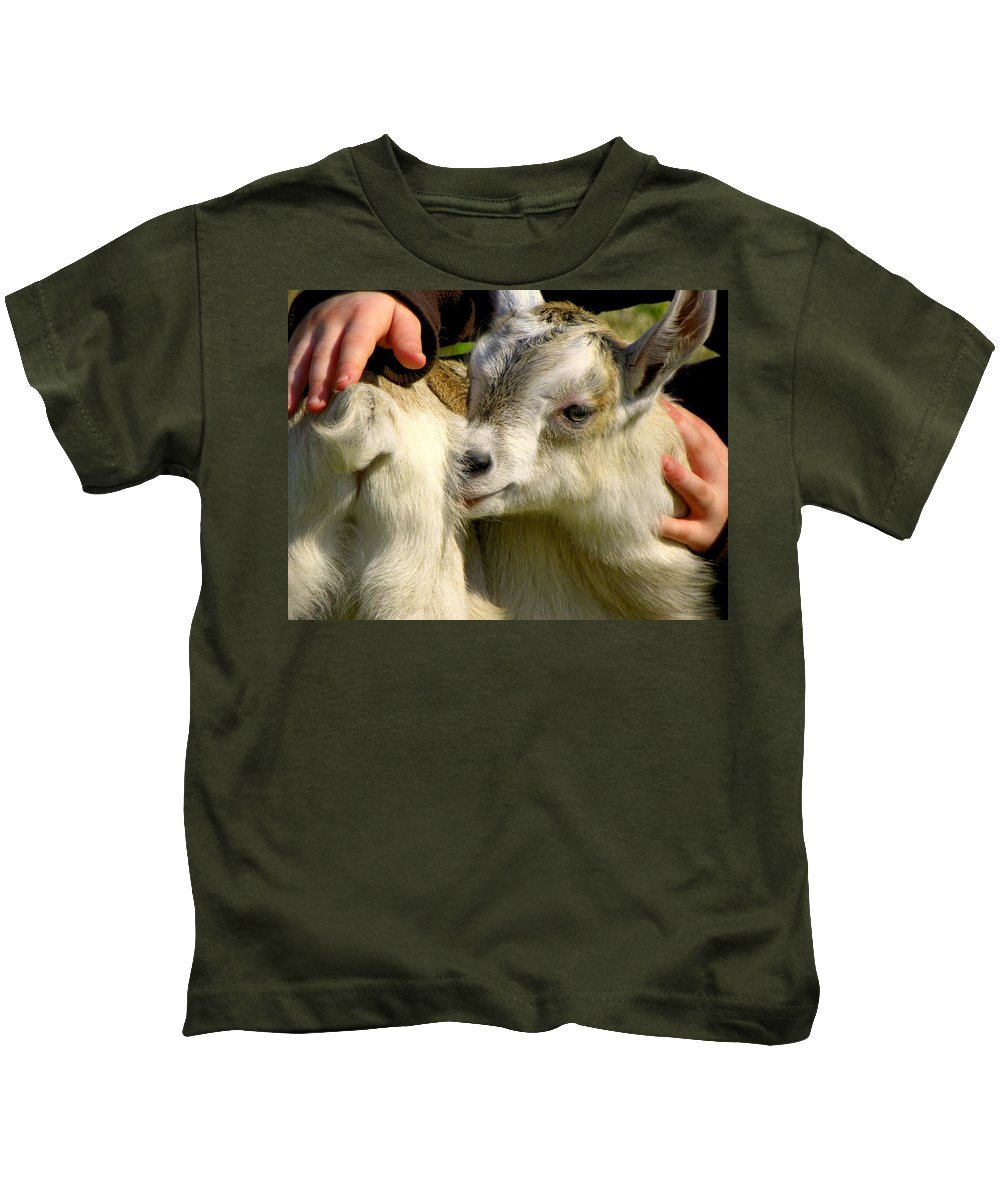 Baby Goats Kids T-Shirt featuring the photograph Tiny Hands by Karen Wiles