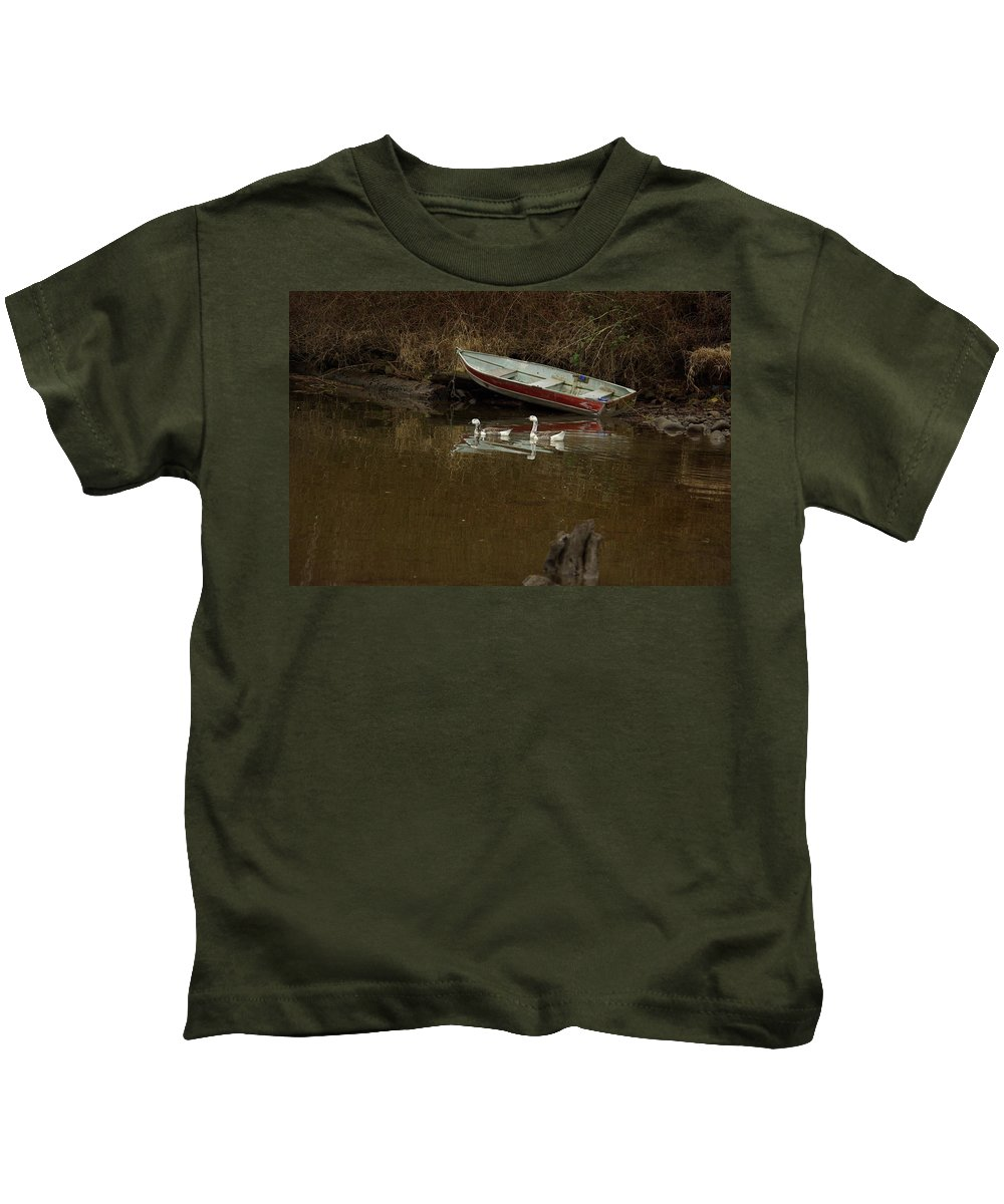 Geese Kids T-Shirt featuring the photograph To Float Or Not To Float by Cindy Johnston