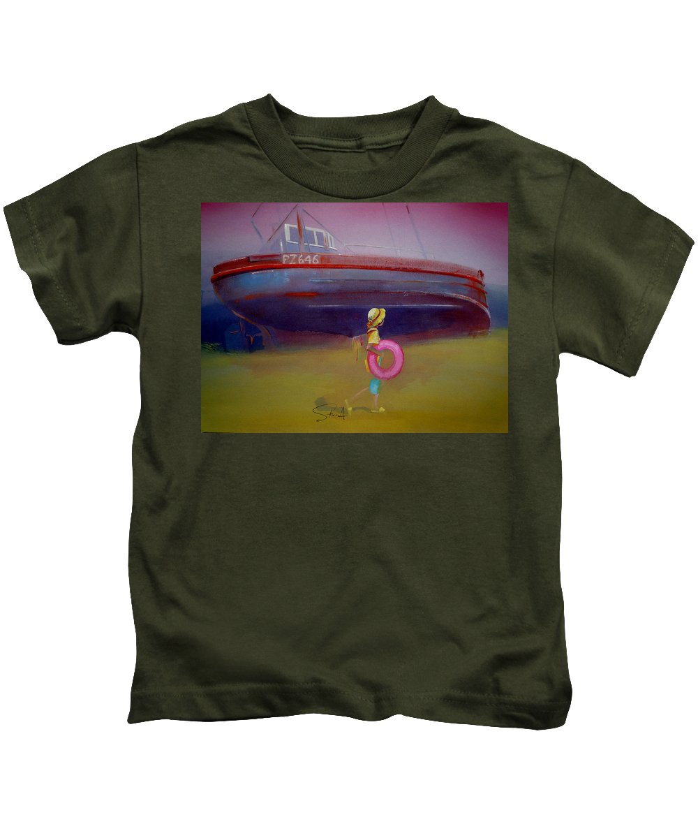Penzance Kids T-Shirt featuring the painting To The Lighthouse by Charles Stuart