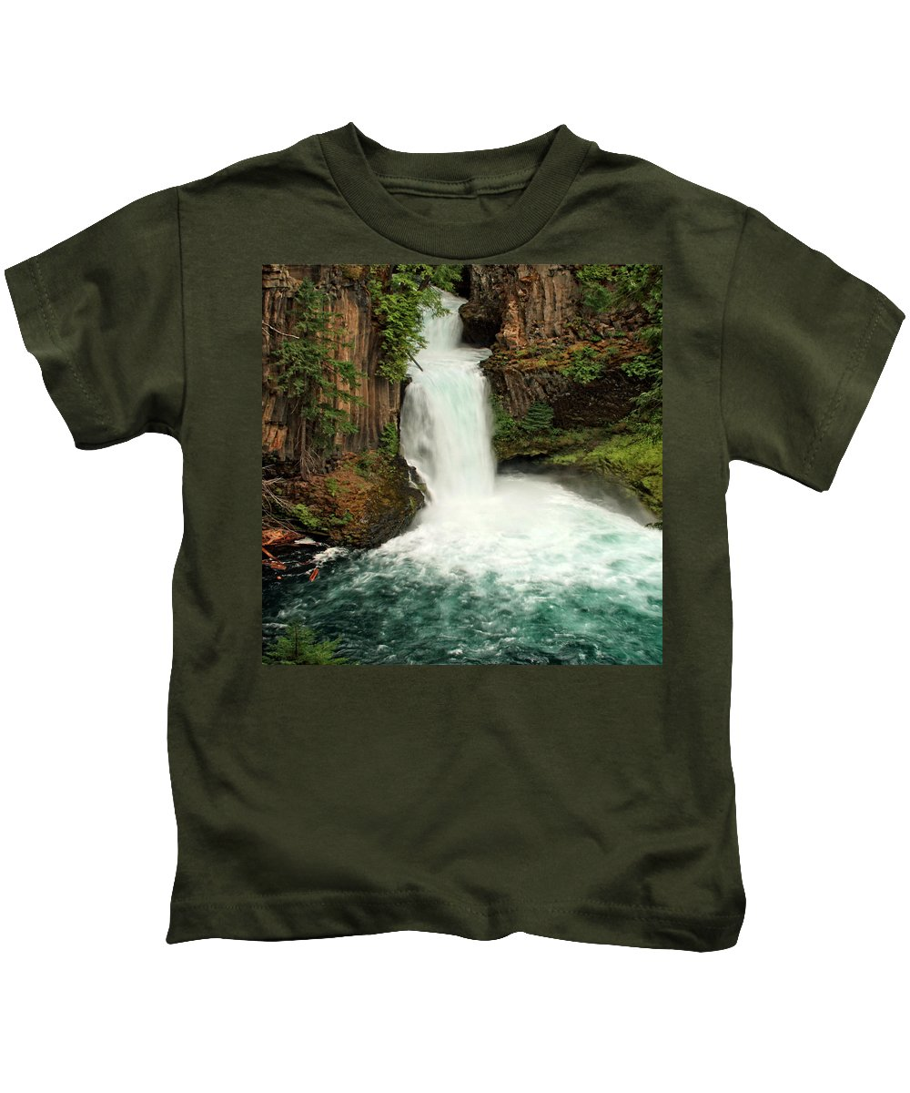 Columbia Gorge Kids T-Shirt featuring the photograph Toketee Falls 4 by Ingrid Smith-Johnsen