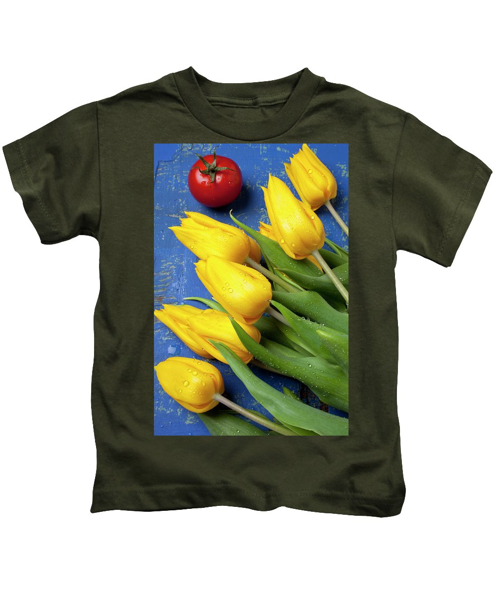Tomato Food Flowers Tomatoes Kids T-Shirt featuring the photograph Tomato And Tulips by Garry Gay