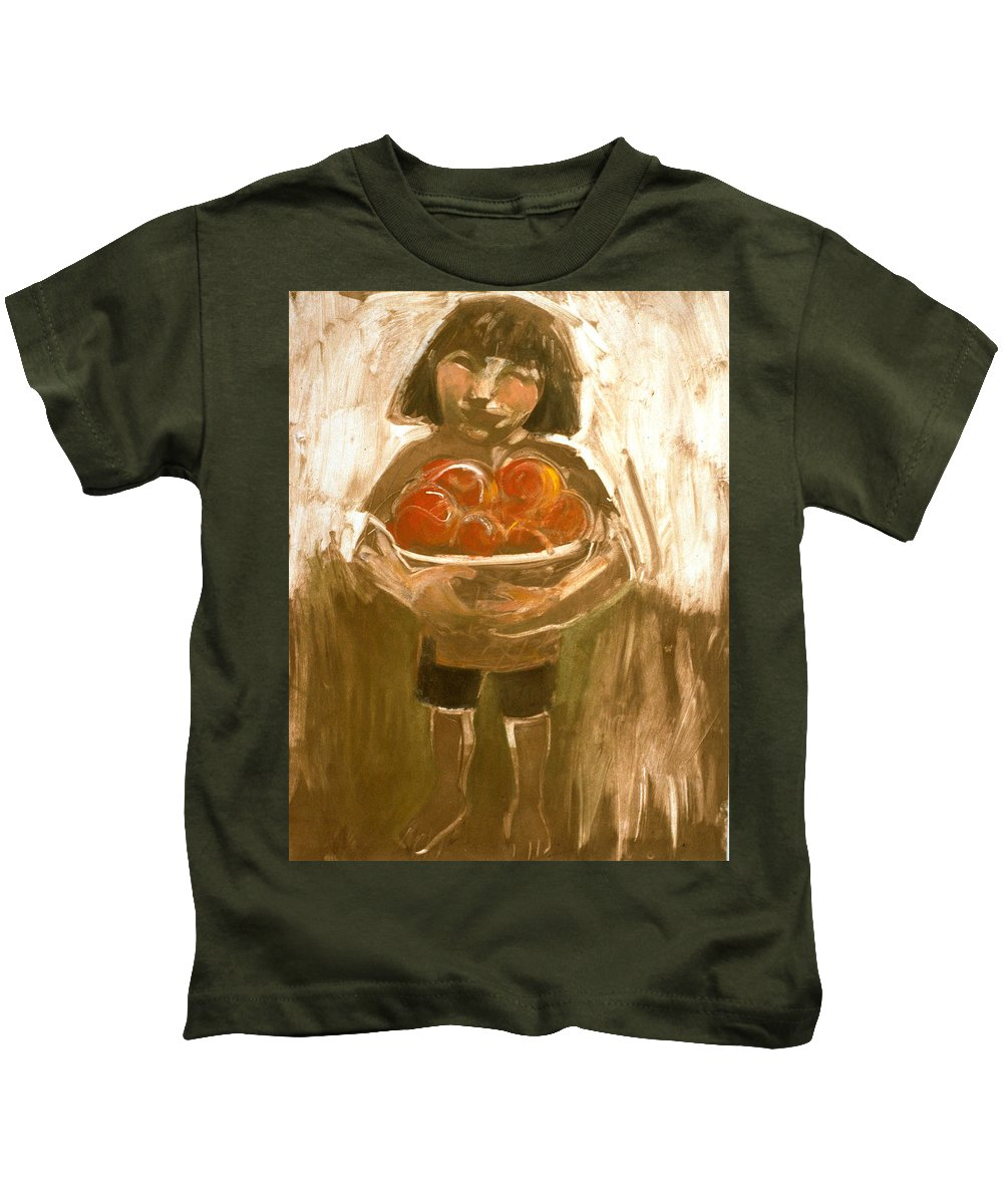 Tomatoes Kids T-Shirt featuring the painting Tomato Girl by Laura Lee Cundiff