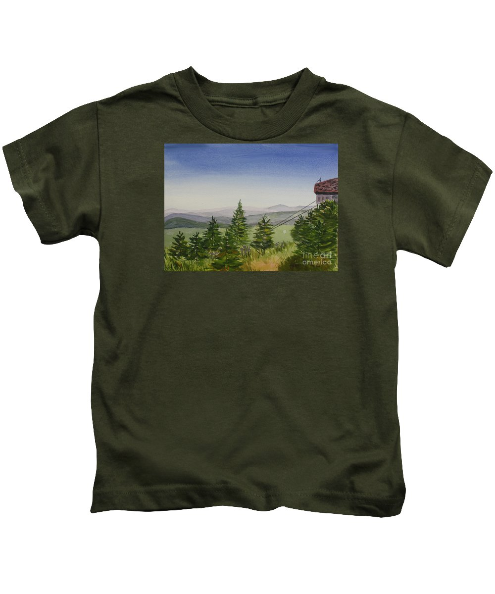 Art Kids T-Shirt featuring the painting Top Of Jay Peak In Summer by Donna Walsh