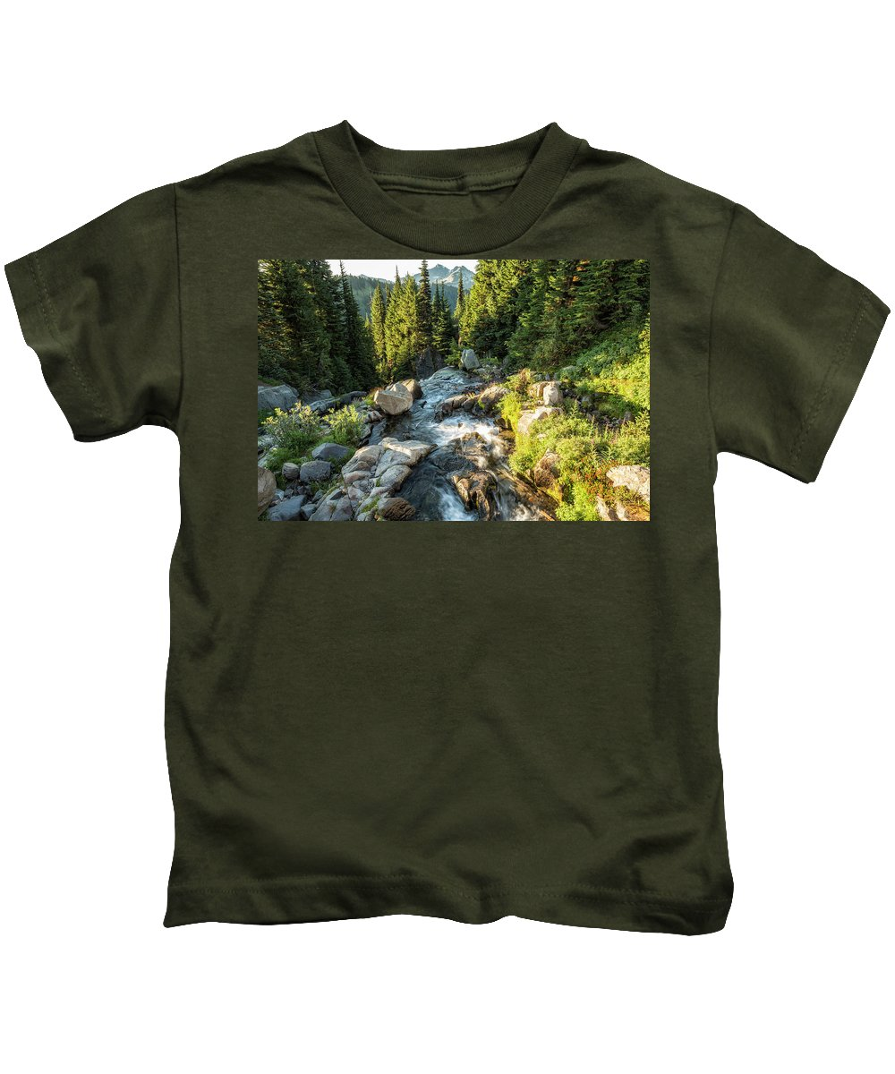 Myrtle Falls Kids T-Shirt featuring the photograph Top Of The Morning At The Top Of Myrtle Falls by Belinda Greb