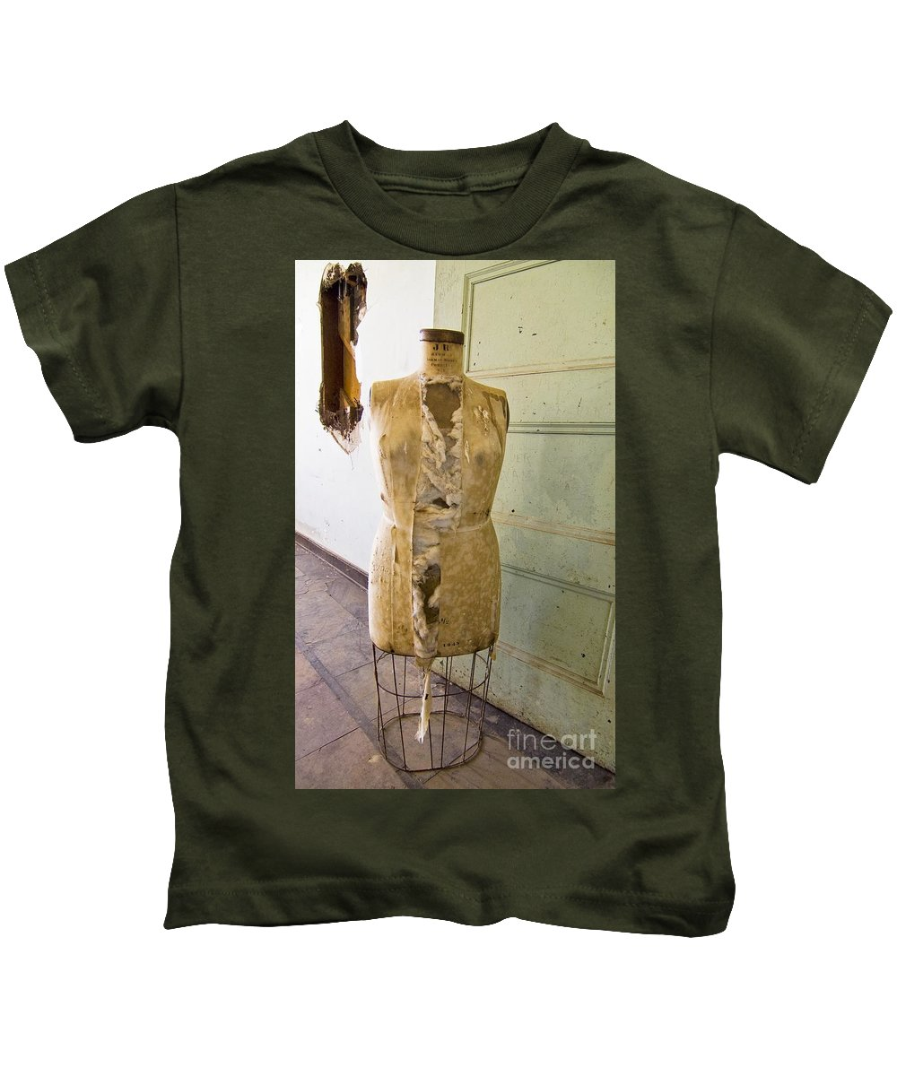 Preston School Of Industry Kids T-Shirt featuring the photograph Torn Dress Form by Norman Andrus