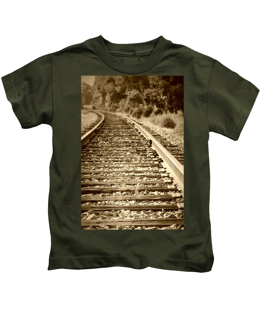 Tracks Kids T-Shirt featuring the photograph Tracks by Tina Meador