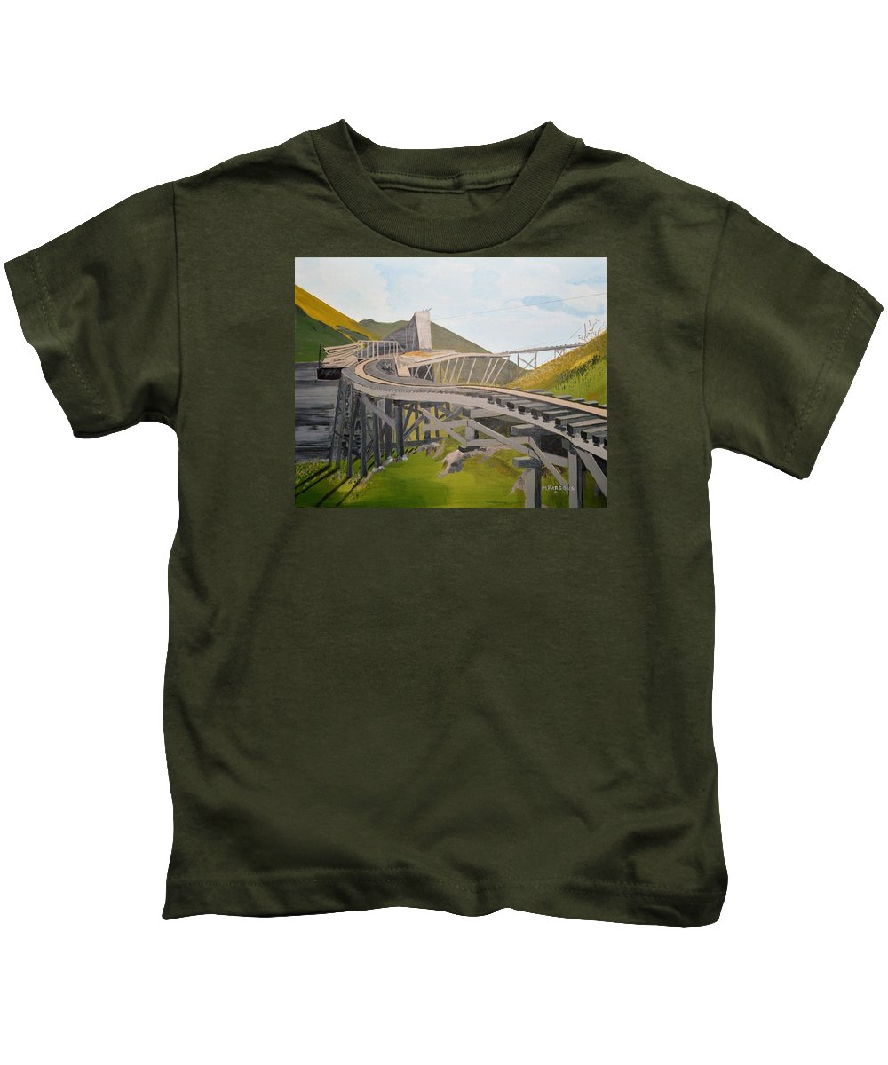 Landscape Kids T-Shirt featuring the painting Tracks To Nowhere by Mike Parsons
