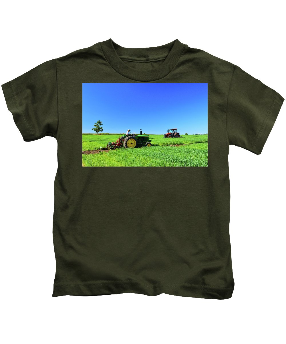 Farm Kids T-Shirt featuring the photograph Tractors Working by Lyle Crump