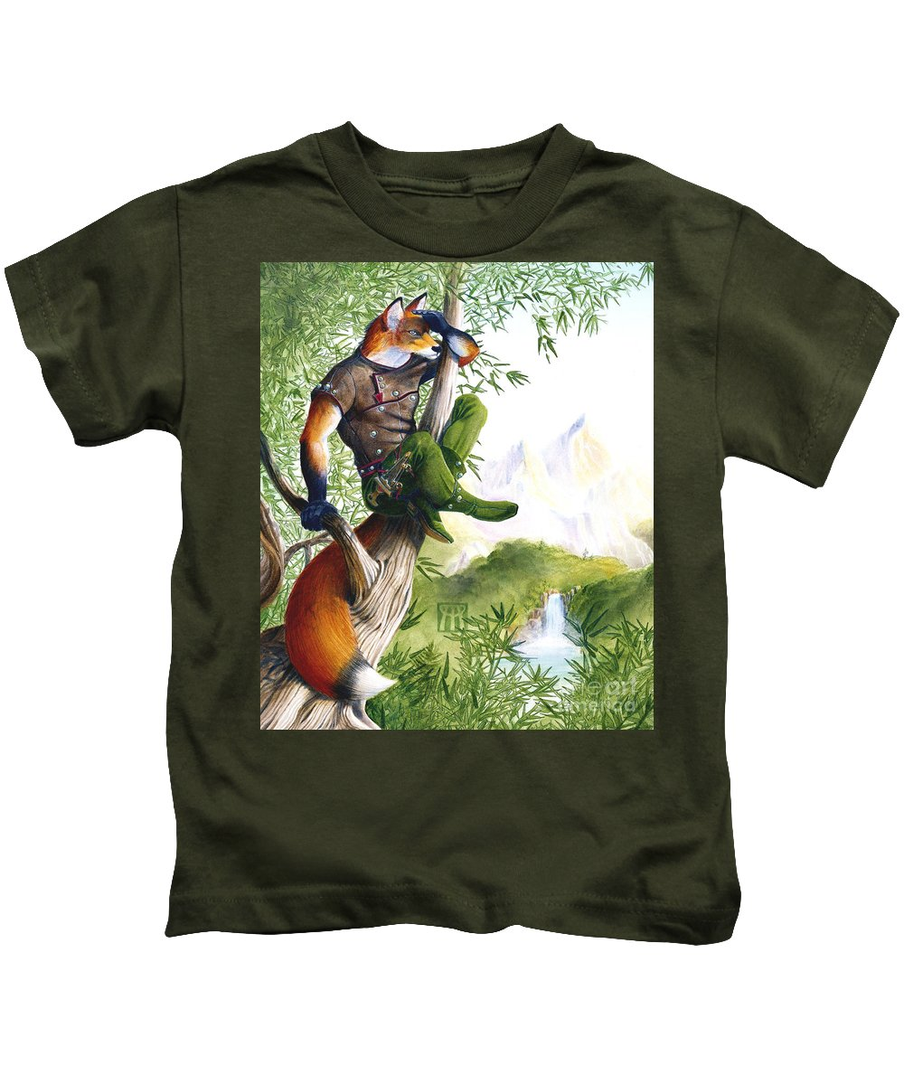 Fantasy Kids T-Shirt featuring the painting Trail Blazing Fox by Melissa A Benson