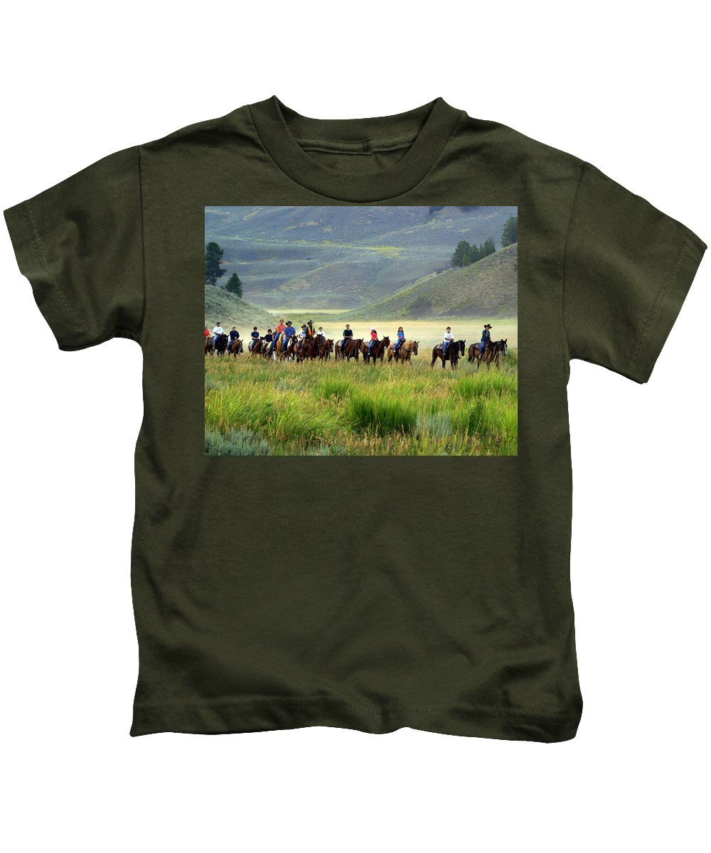 Trail Ride Kids T-Shirt featuring the photograph Trail Ride by Marty Koch