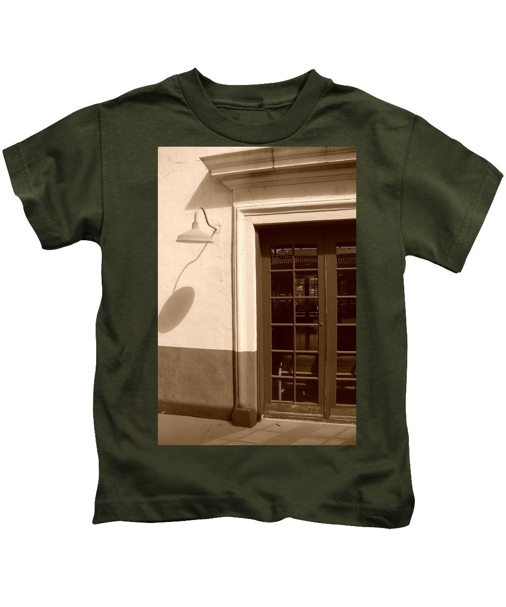 Sepia Kids T-Shirt featuring the photograph Train Station Of The 40s by Rob Hans