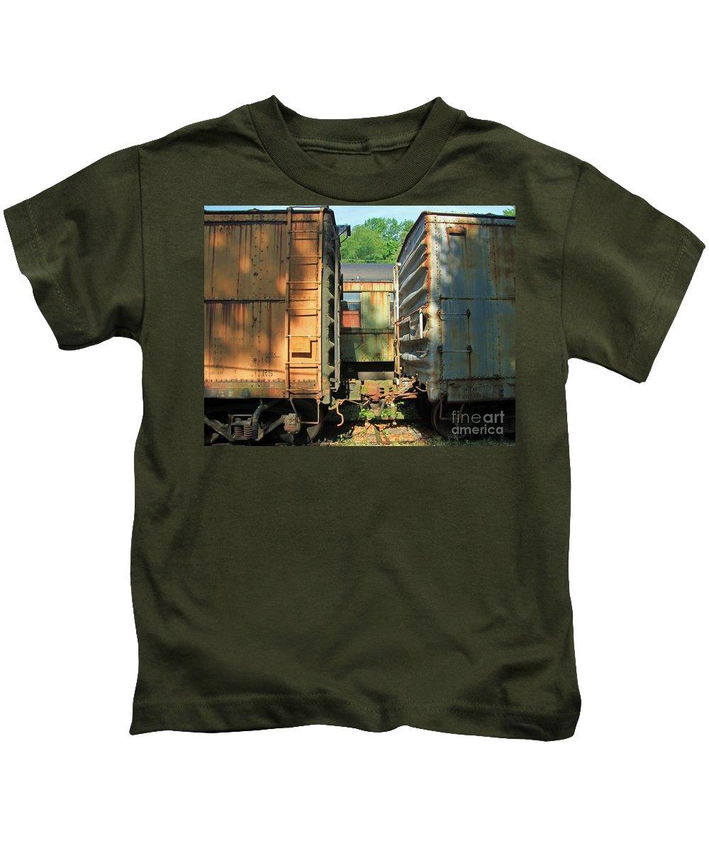 Train Kids T-Shirt featuring the photograph Trainyard 5 by Steve Gass