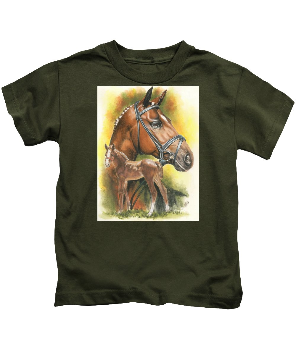 Jumper Hunter Kids T-Shirt featuring the mixed media Trakehner by Barbara Keith