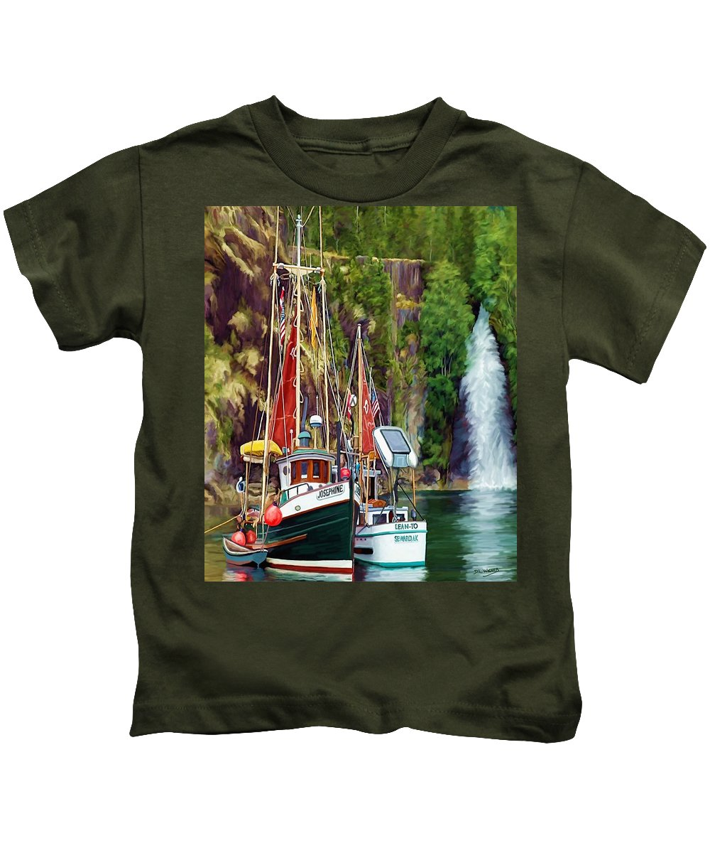 Boats Kids T-Shirt featuring the painting Tranquility by David Wagner