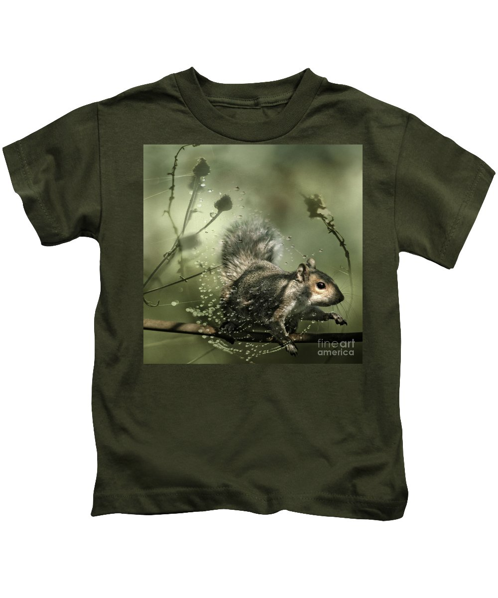 Cobweb Kids T-Shirt featuring the photograph Trapped by Angel Ciesniarska