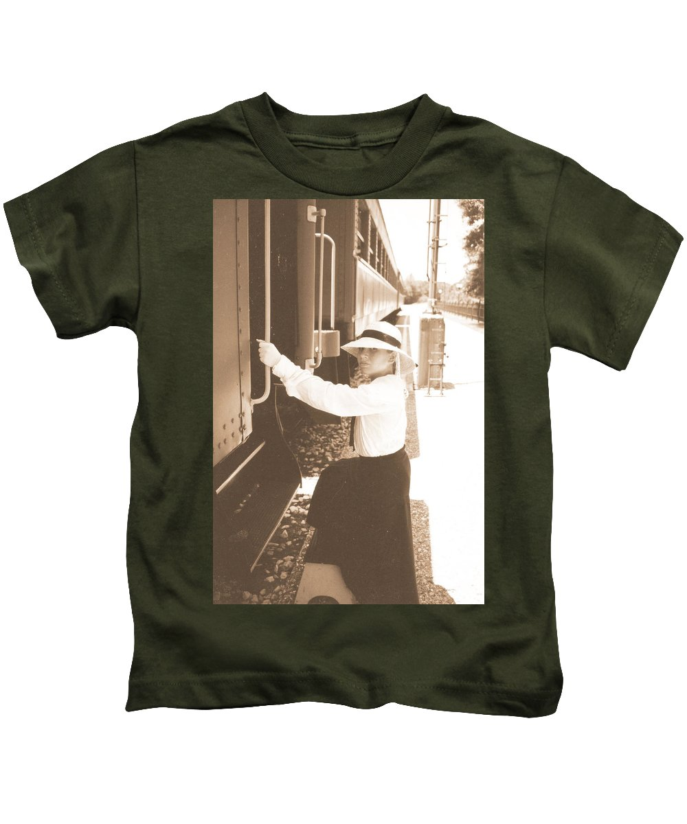 Snood Kids T-Shirt featuring the photograph Traveling By Train - Sepia by Cindy New