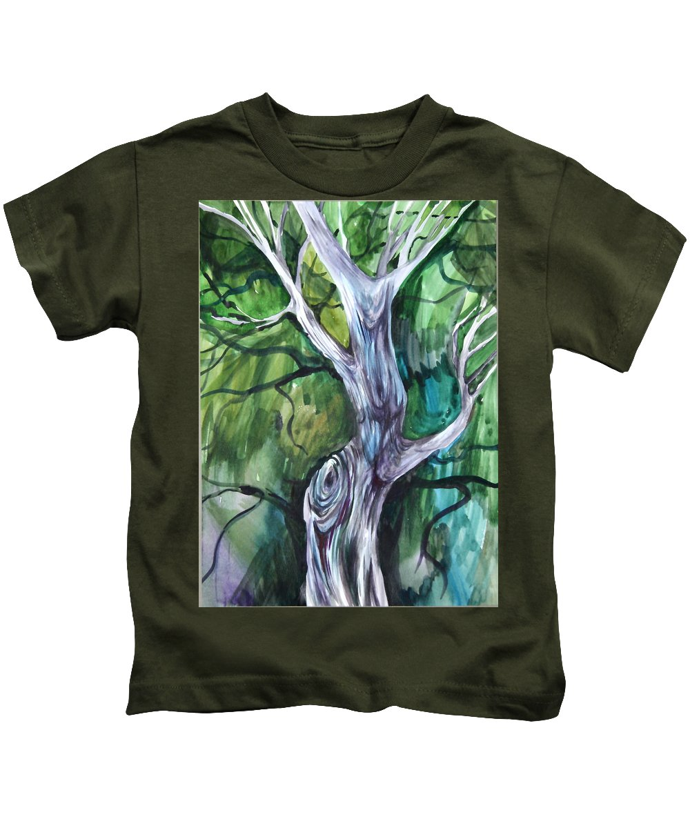 Watercolor Kids T-Shirt featuring the painting Tree by Anna Duyunova