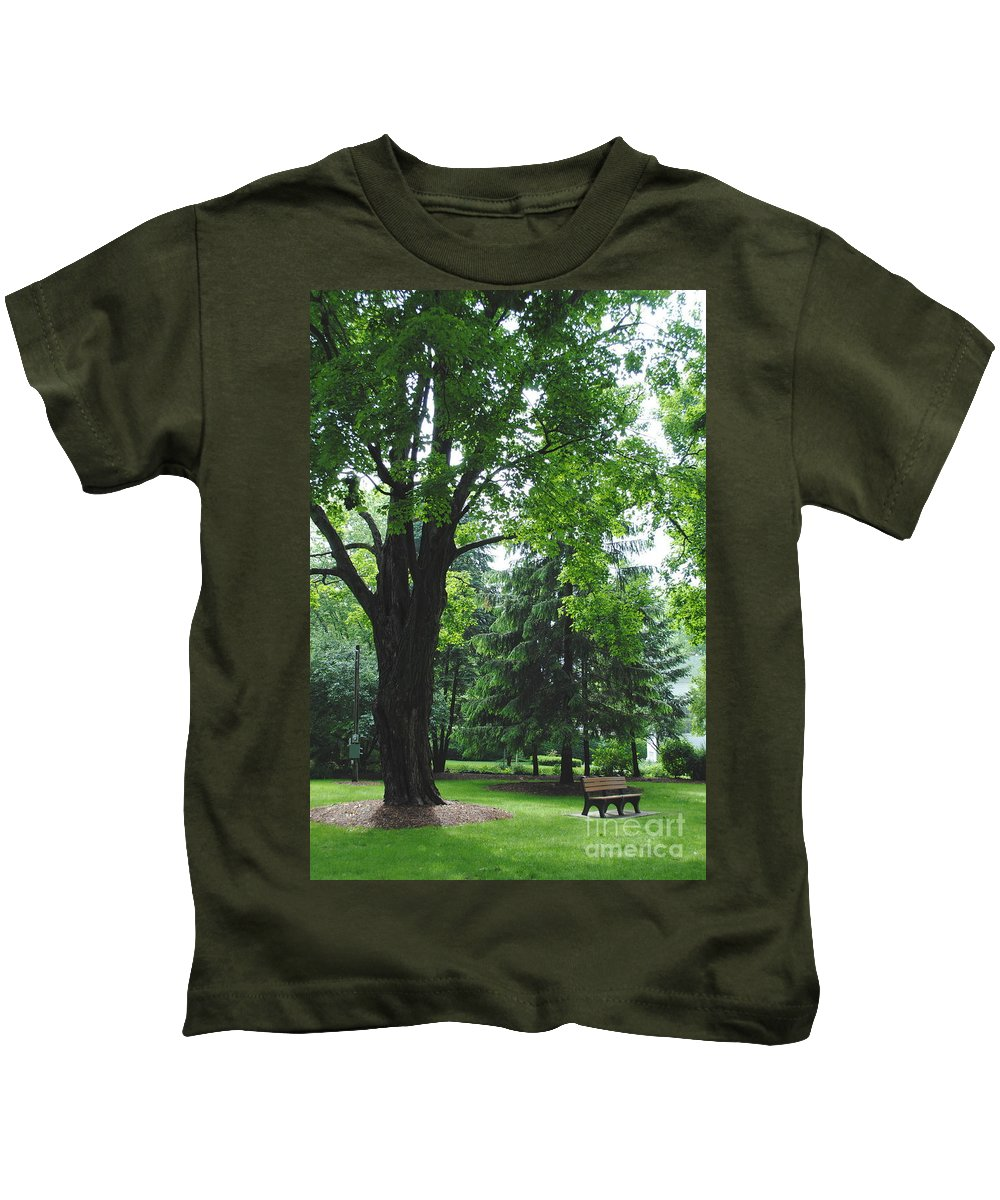 Tree Kids T-Shirt featuring the photograph Tree Bench by Jost Houk