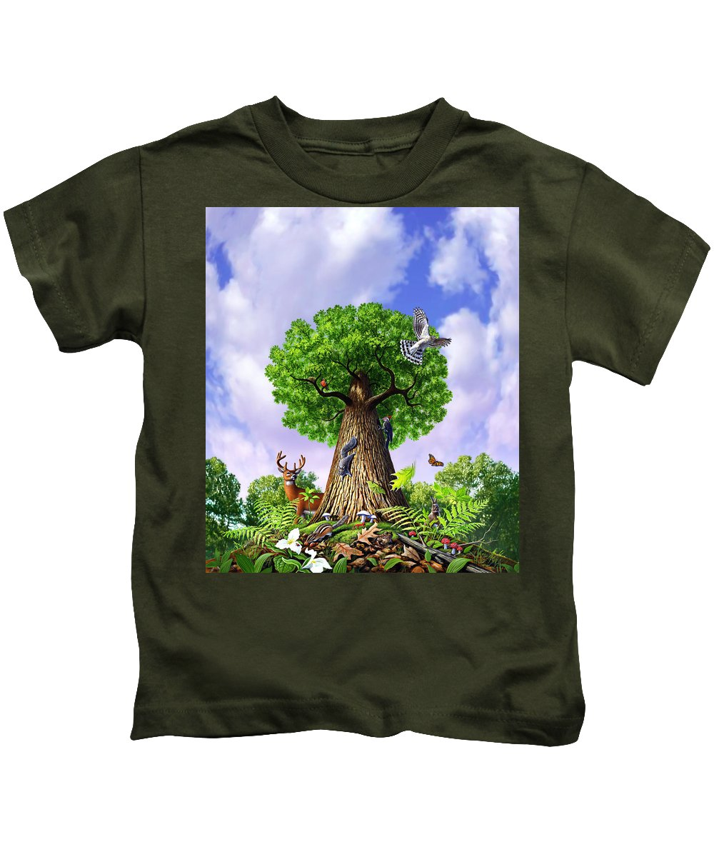 Tree Kids T-Shirt featuring the painting Tree Of Life by Jerry LoFaro