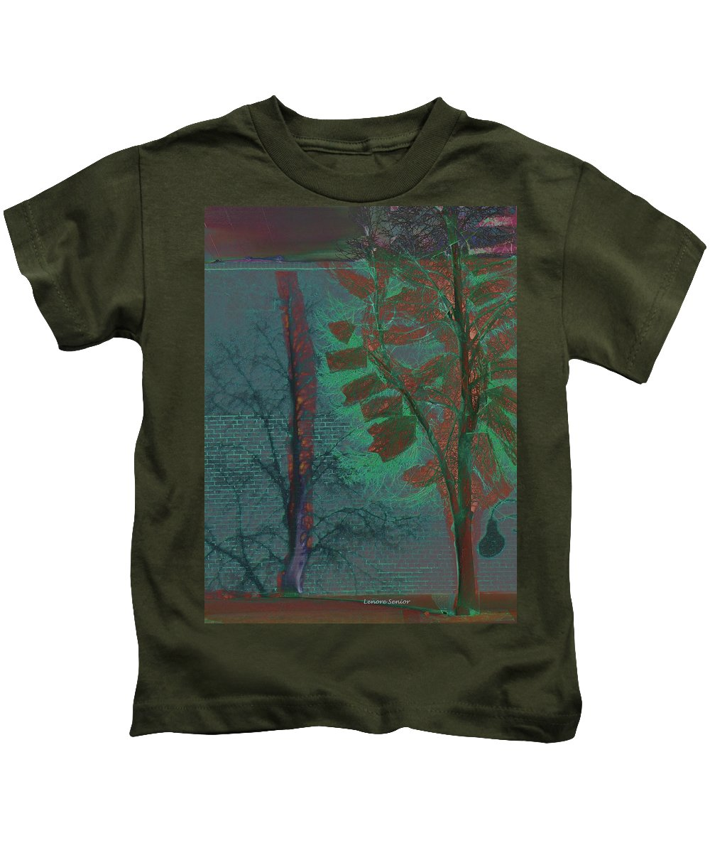 Abstract Kids T-Shirt featuring the mixed media Tree Shadows At Midnight by Lenore Senior