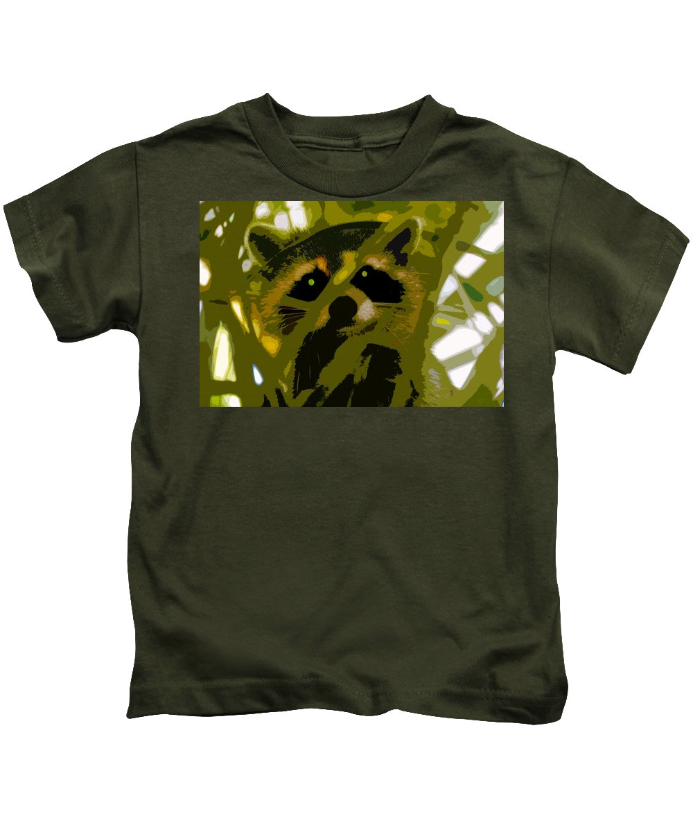 Raccoon Kids T-Shirt featuring the painting Treed Raccoon by David Lee Thompson