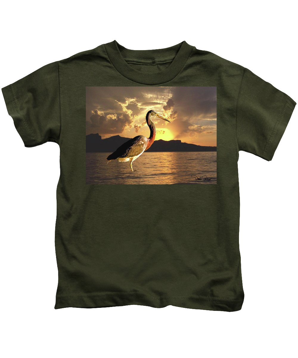 Tricolored Heron Kids T-Shirt featuring the photograph Tricolored Heron At Sunset by David Salter