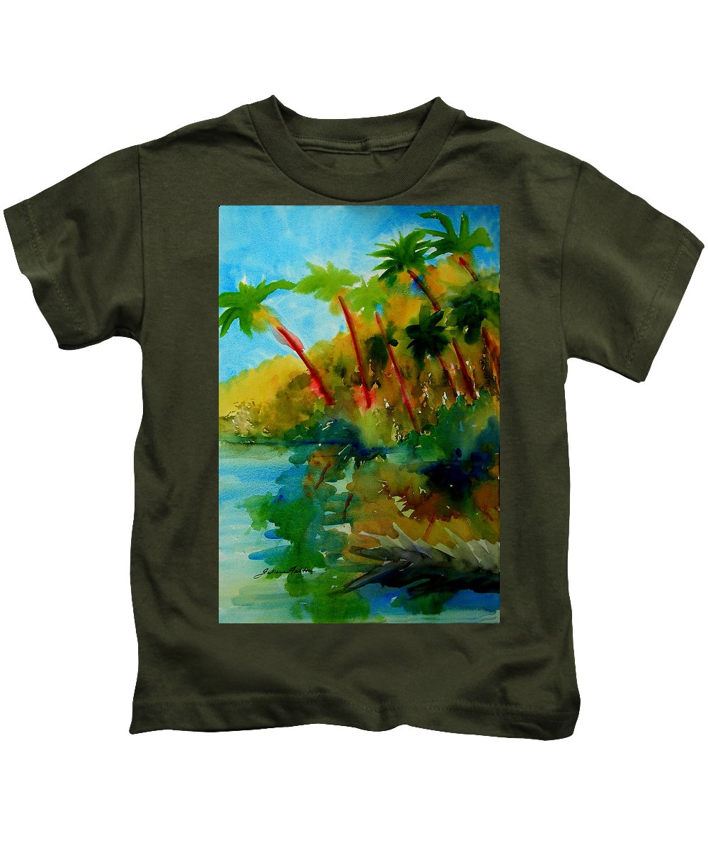 Art Kids T-Shirt featuring the painting Tropical Canal by Julianne Felton