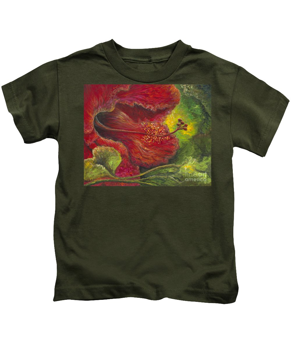 Flowers Kids T-Shirt featuring the painting Tropical Hibiscus by Nadine Rippelmeyer