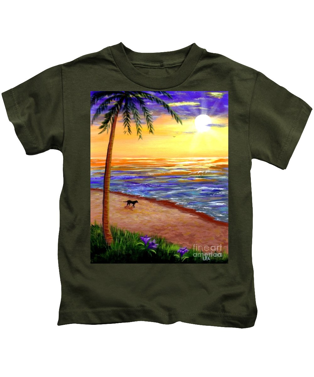 Tropical Kids T-Shirt featuring the painting Tropical Sunset by Lisa Adams