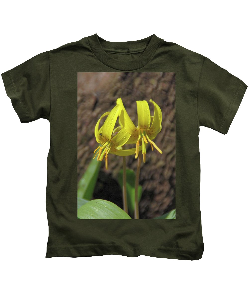 Flowers Kids T-Shirt featuring the photograph Trout Lily 1068 by Guy Whiteley