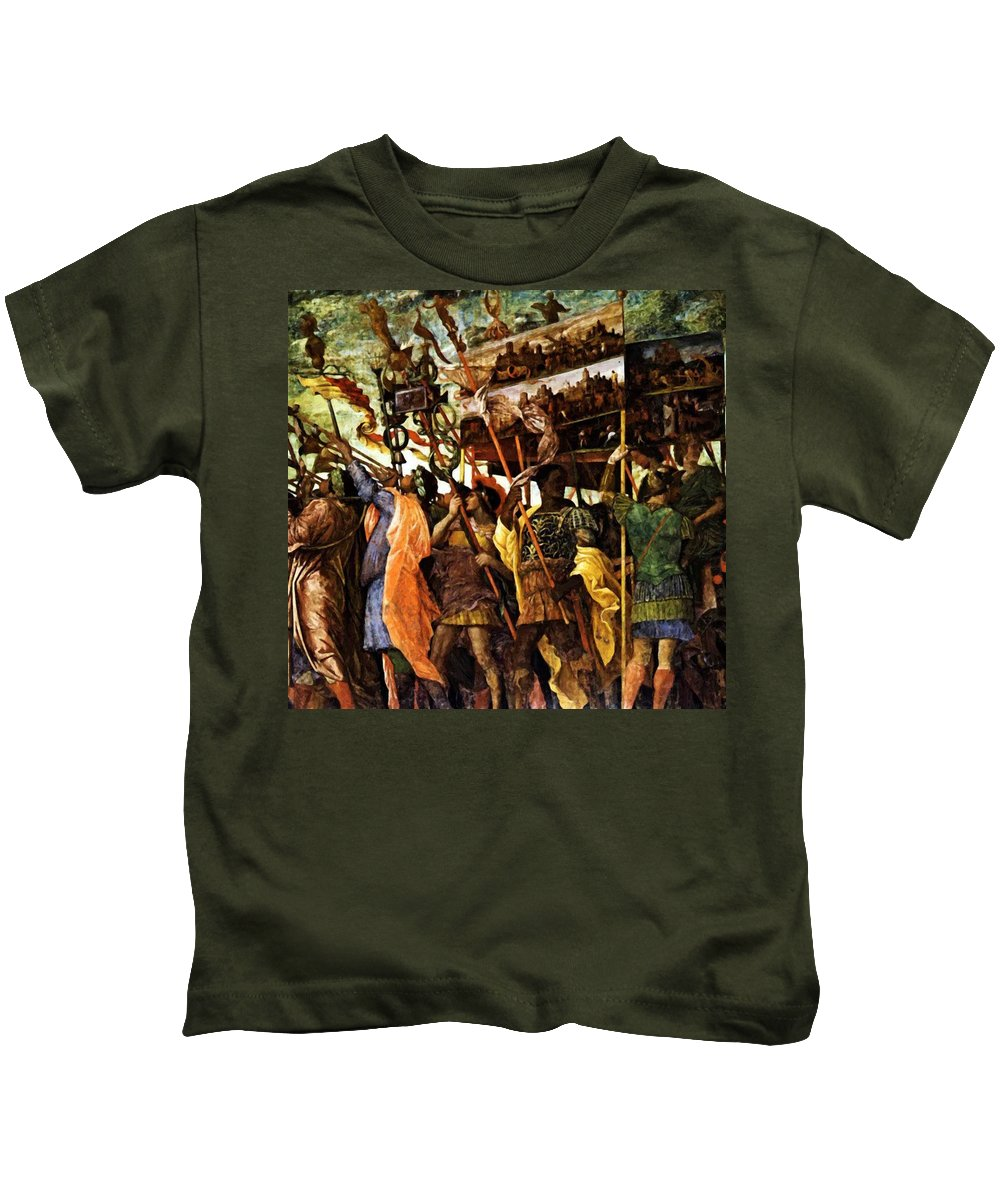 Trumpeters Kids T-Shirt featuring the painting Trumpeters 1506 by Mantegna Andrea