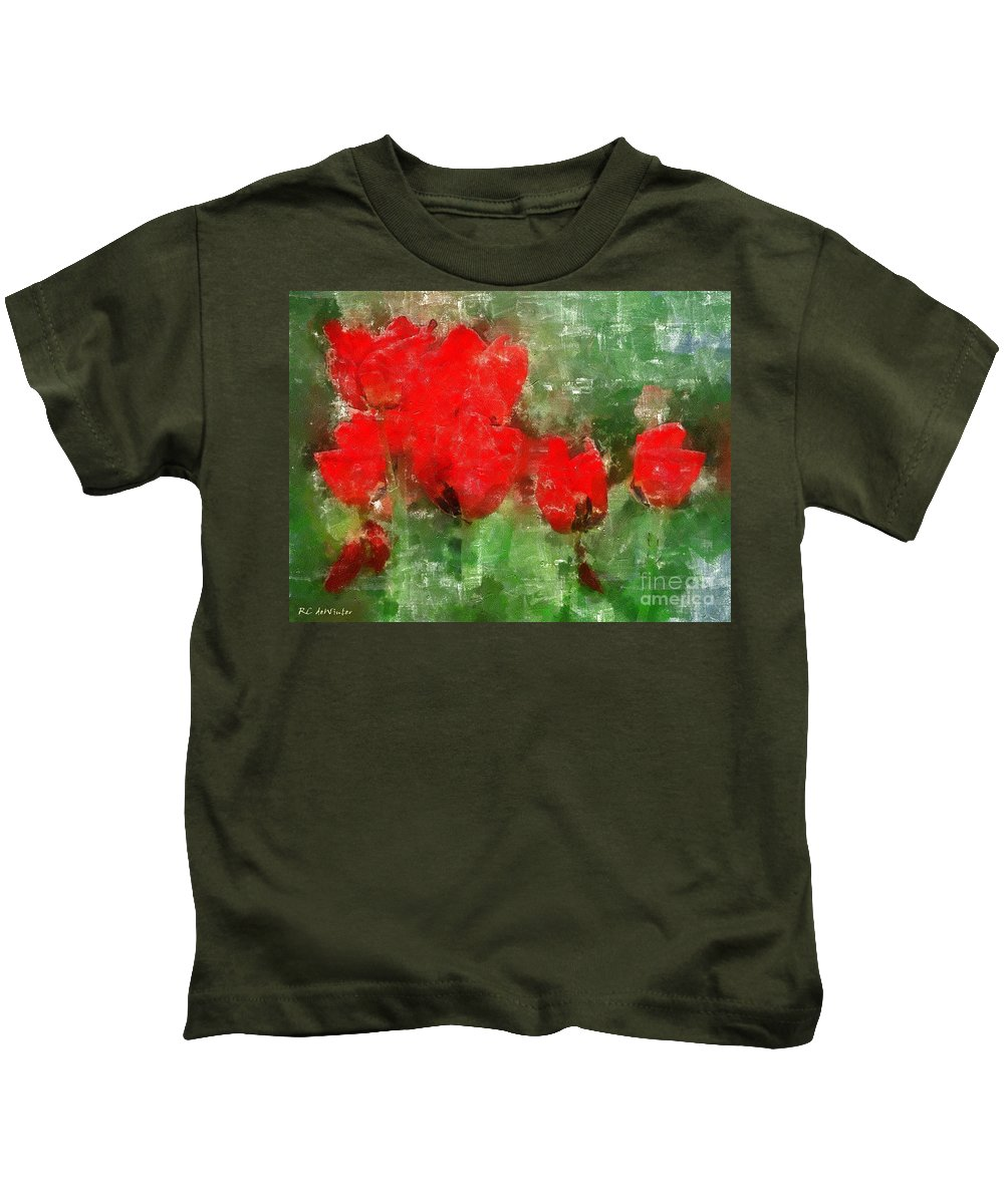 Flowers Kids T-Shirt featuring the painting Tulip Decay Deconstructed by RC DeWinter