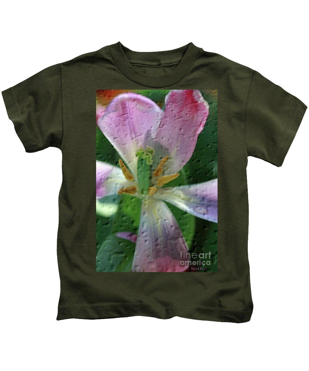 Tulip Kids T-Shirt featuring the photograph Tulip Passing Beauty by Deborah Benoit