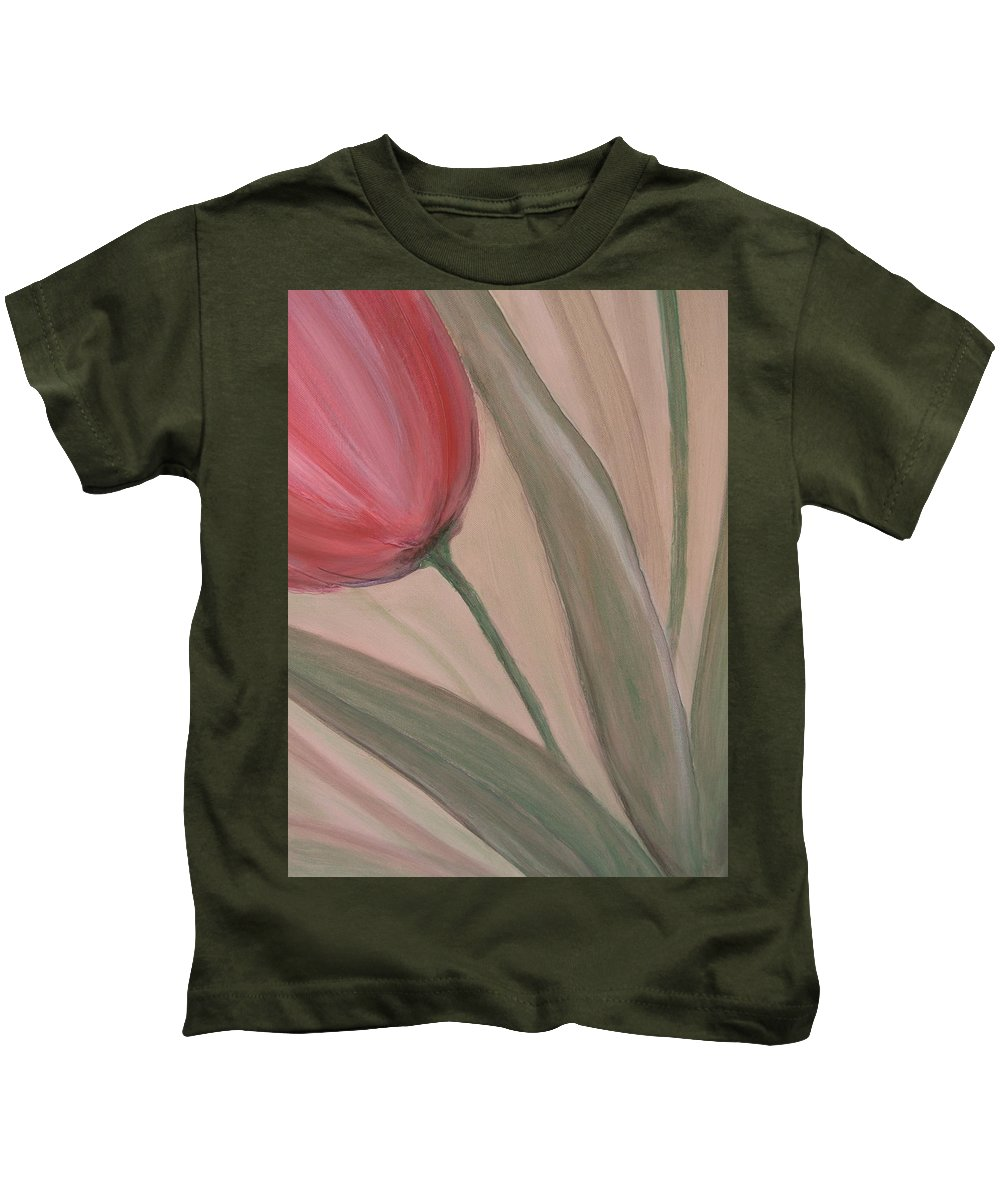 Tulips Kids T-Shirt featuring the painting Tulip Series 2 by Anita Burgermeister