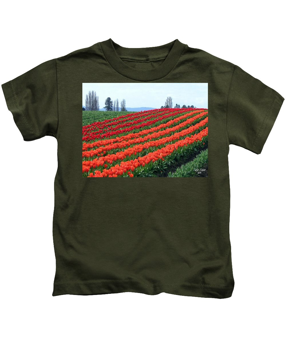 Agriculture Kids T-Shirt featuring the photograph Tulip Town 18 by Will Borden