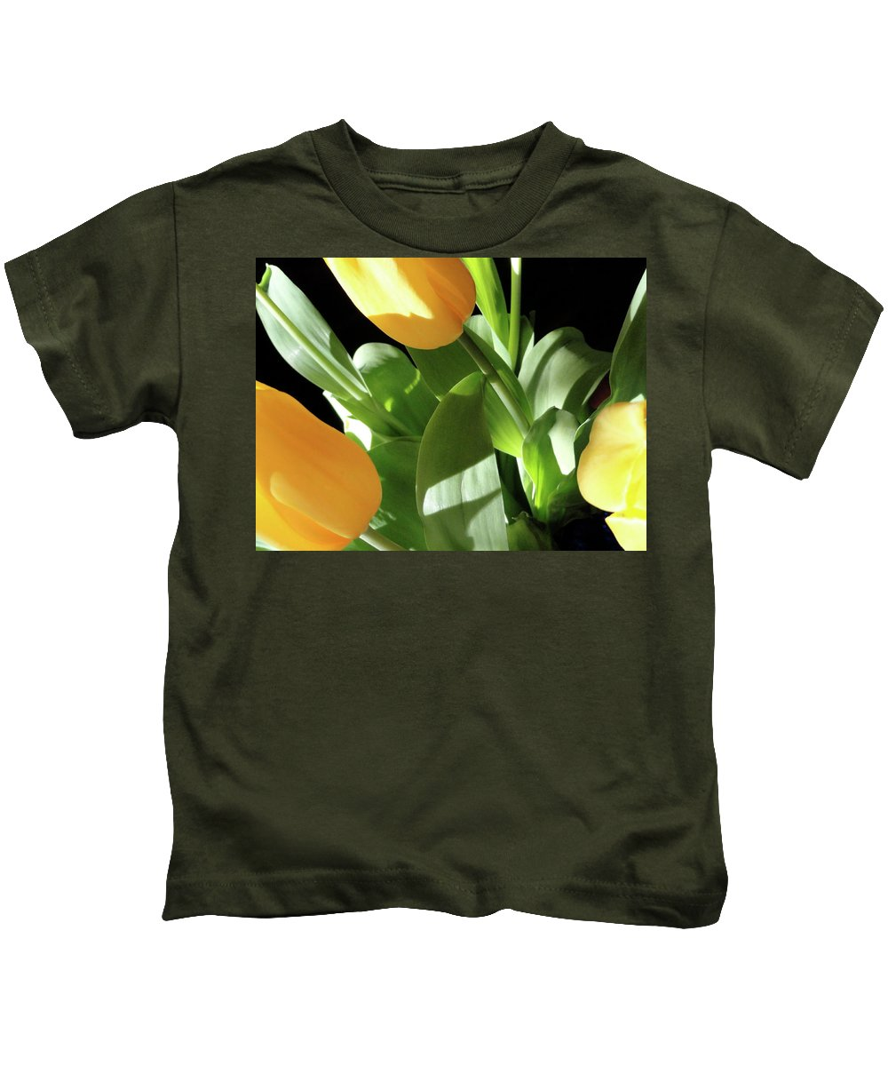 Yellow Kids T-Shirt featuring the photograph Tulip Trio by Shannon Grissom