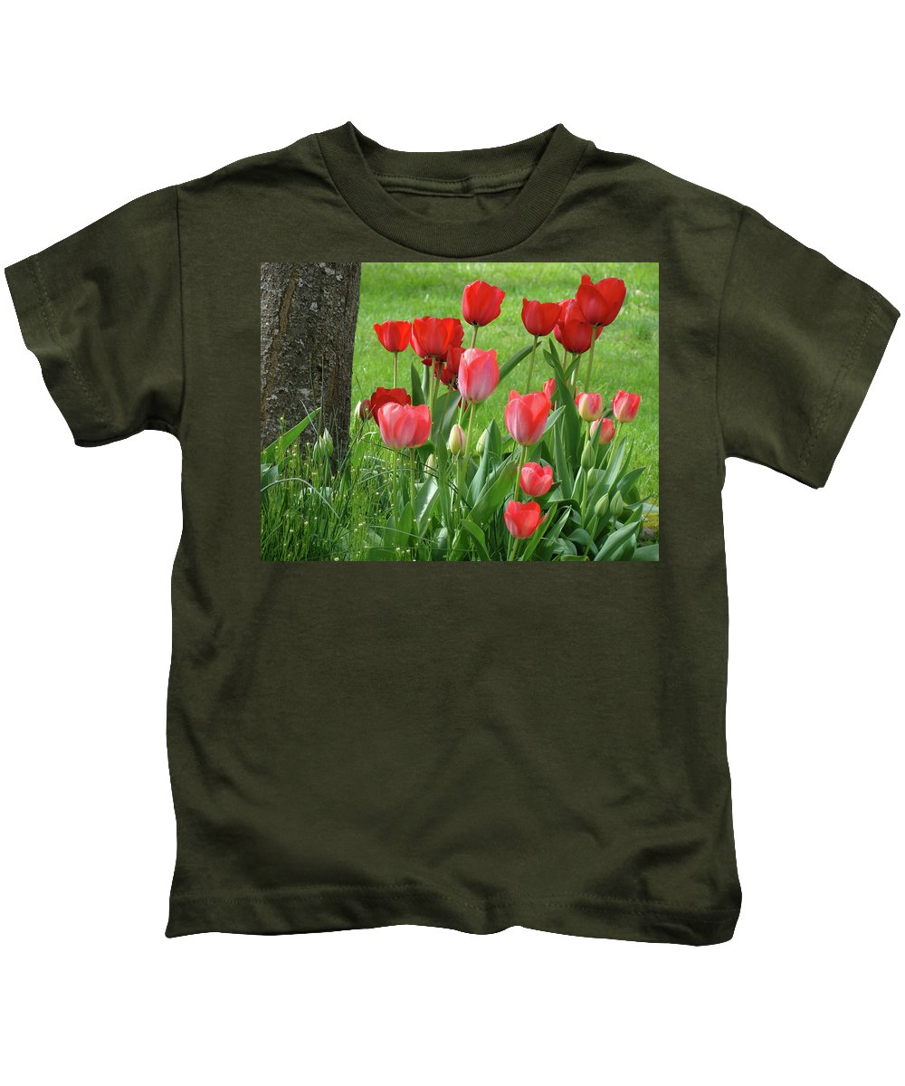 �tulips Artwork� Kids T-Shirt featuring the photograph Tulips Flowers Art Prints Spring Tulip Flower Artwork Nature Art by Baslee Troutman