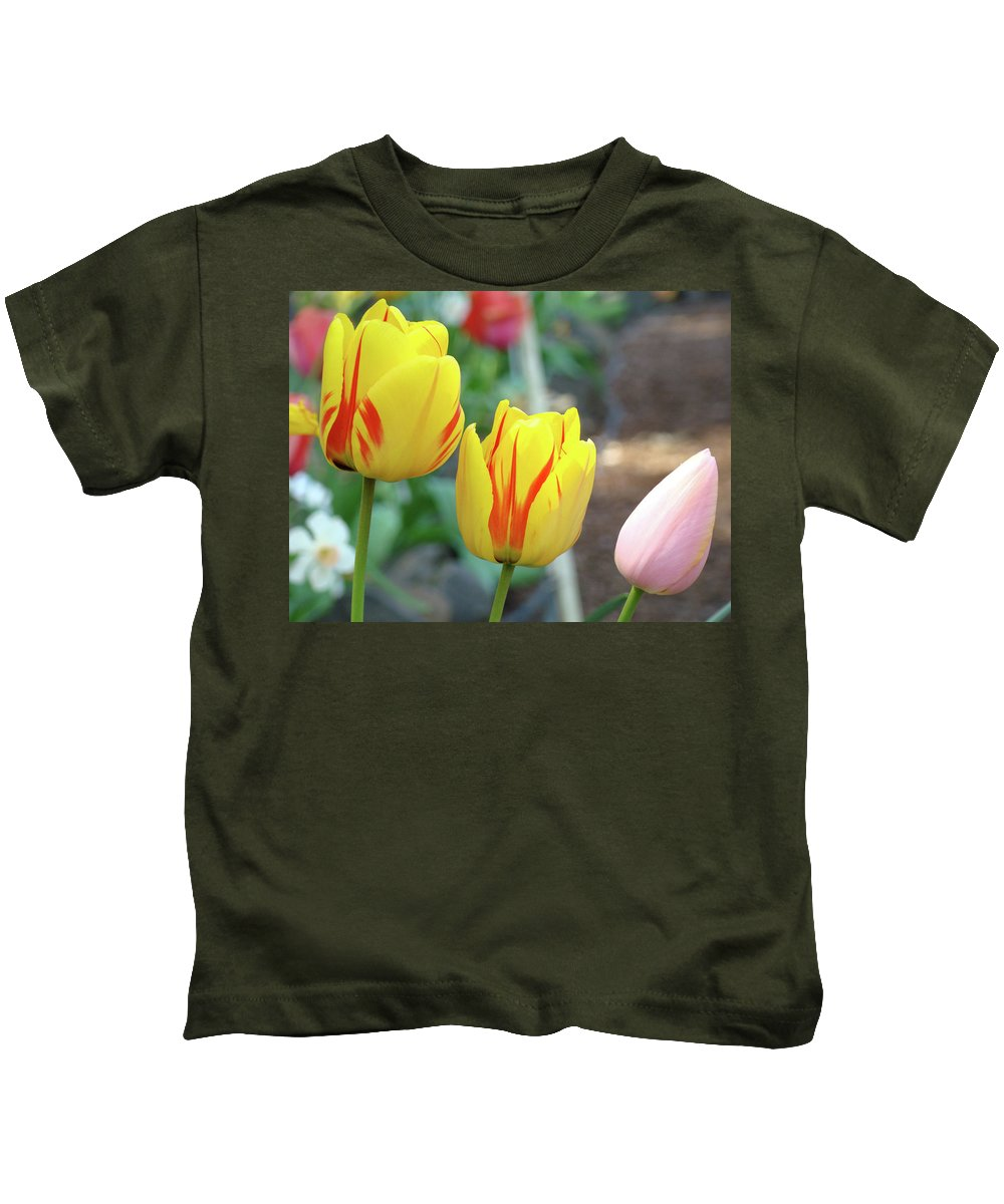 Tulip Kids T-Shirt featuring the photograph Tulips Garden Art Prints Yellow Red Tulip Flowers Baslee Troutman by Baslee Troutman