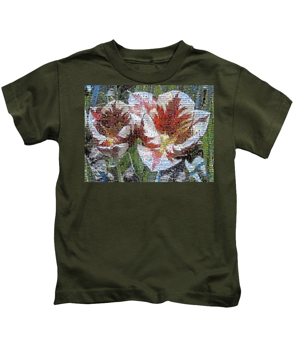 Lighthouse Kids T-Shirt featuring the photograph Tulips In Springtime Photomosaic by Michelle Calkins