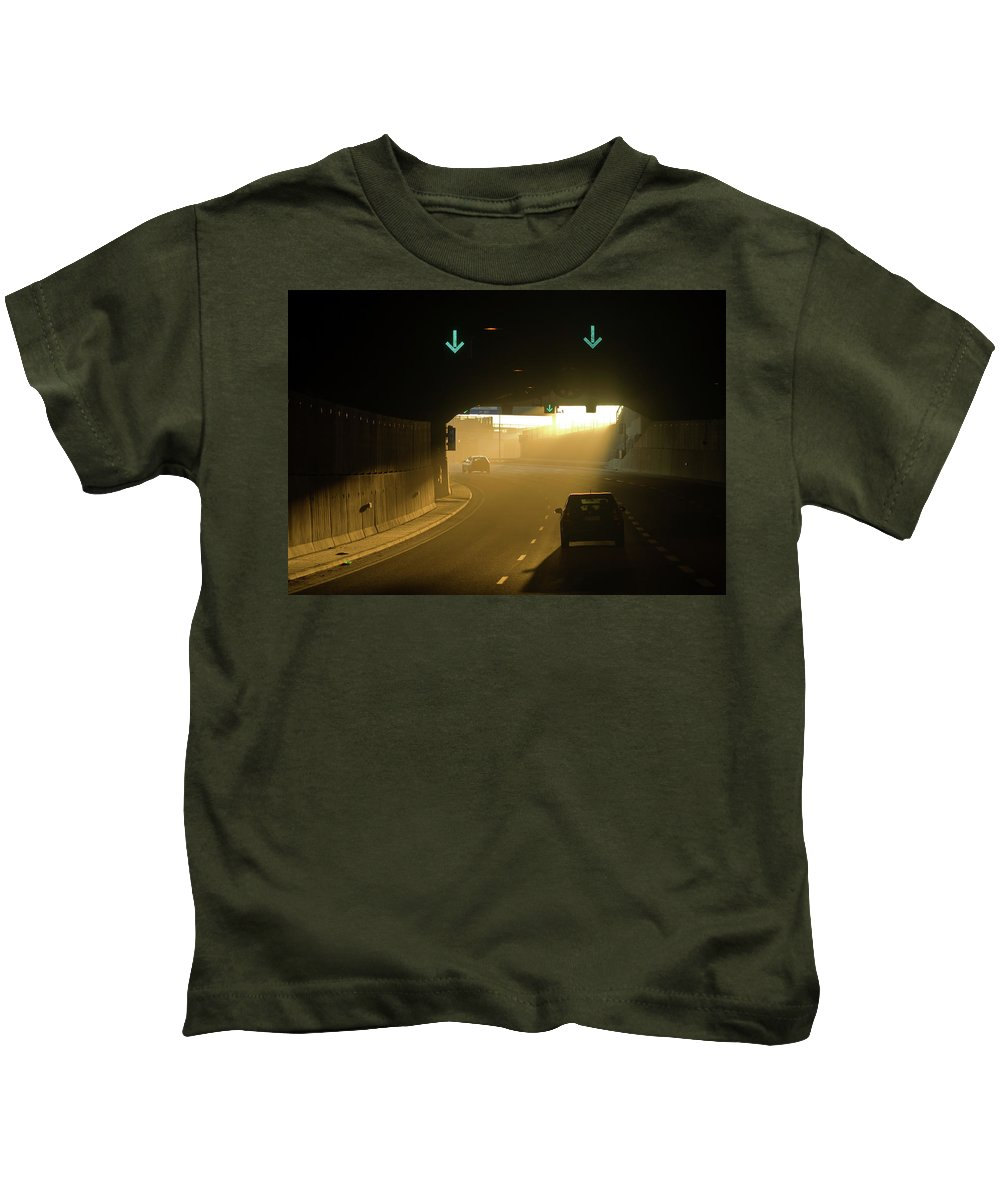 Mestaritunneli Kids T-Shirt featuring the photograph Tunnel Exit by Jarmo Honkanen