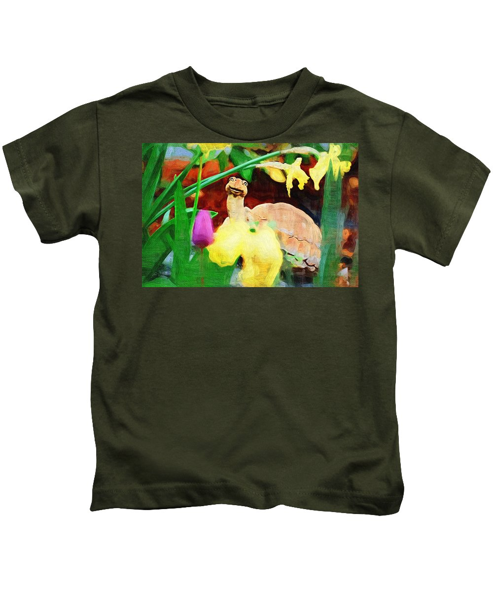 Turtle Kids T-Shirt featuring the photograph Turtle In The Tulips by Donna Bentley