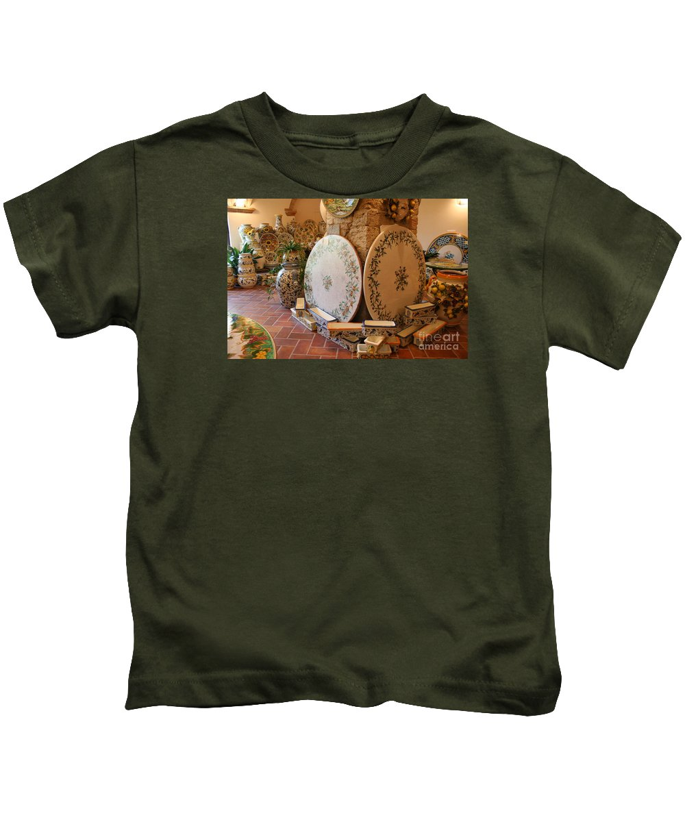 Pottery Kids T-Shirt featuring the photograph Tuscan Pottery by Christiane Schulze Art And Photography