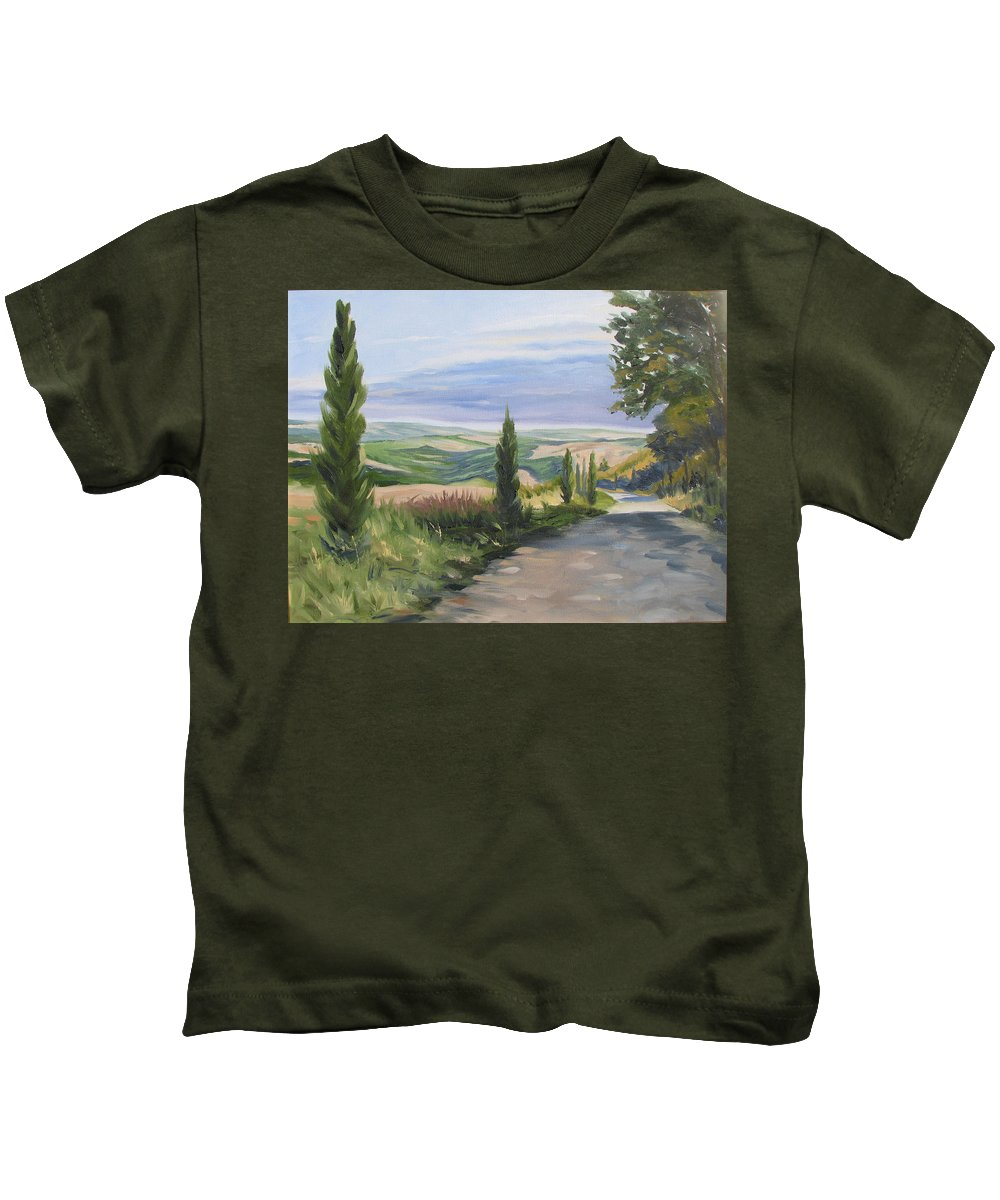 Landscape Kids T-Shirt featuring the painting Tuscan Walk by Jay Johnson