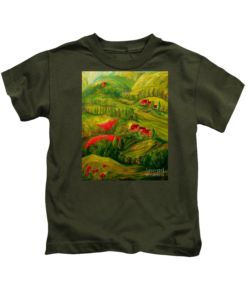 Tuscany Kids T-Shirt featuring the painting Tuscany At Dawn by Eloise Schneider Mote